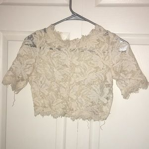 Small: Creamy Ivory Floral Lace Crop Top